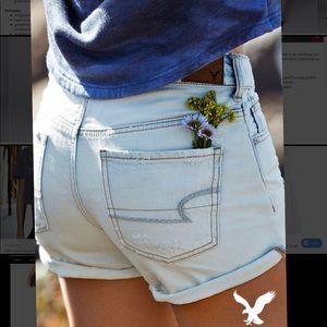 American Eagle Distressed Midi Denim Shorts